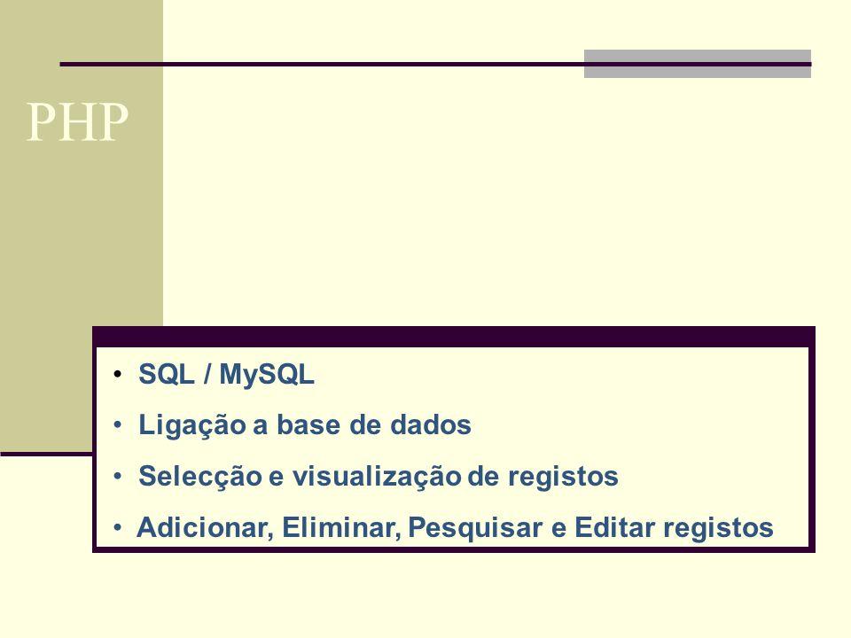 PHP SQL / MySQL Ligação a base de dados