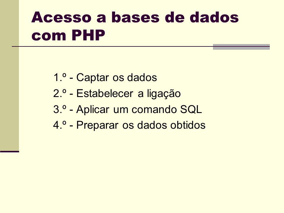Acesso a bases de dados com PHP