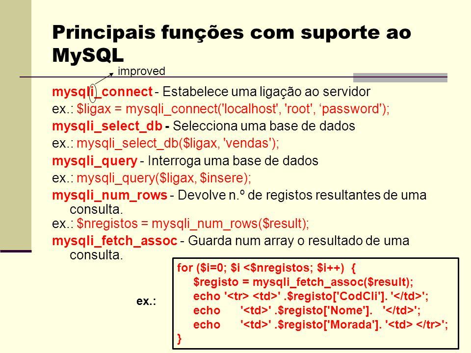 Principais funções com suporte ao MySQL