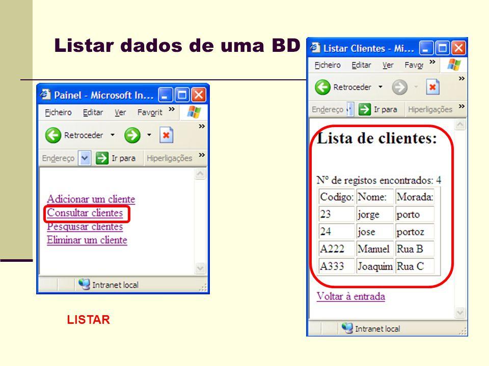 Listar dados de uma BD LISTAR