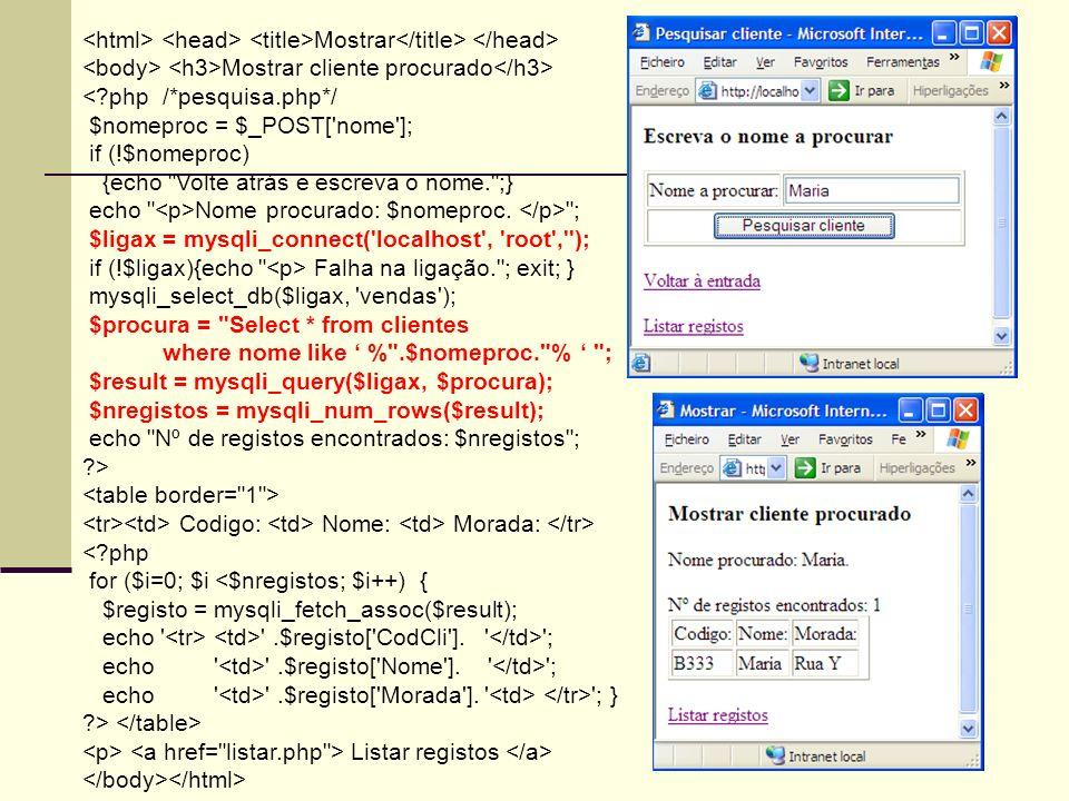 <html> <head> <title>Mostrar</title> </head>
