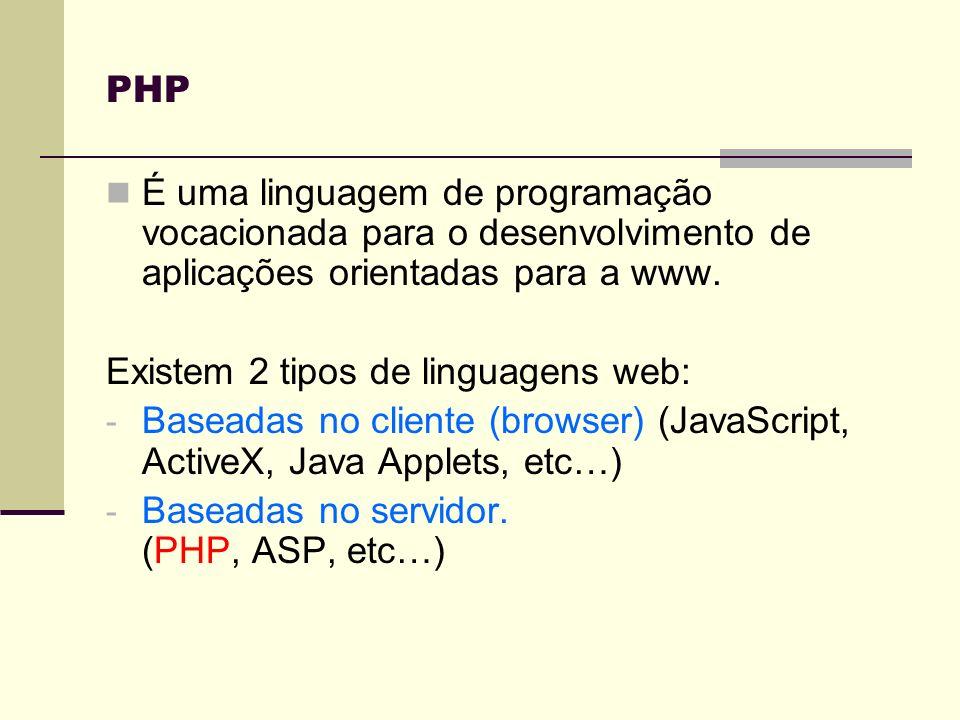 PHPÉ uma linguagem de programação vocacionada para o desenvolvimento de aplicações orientadas para a www.