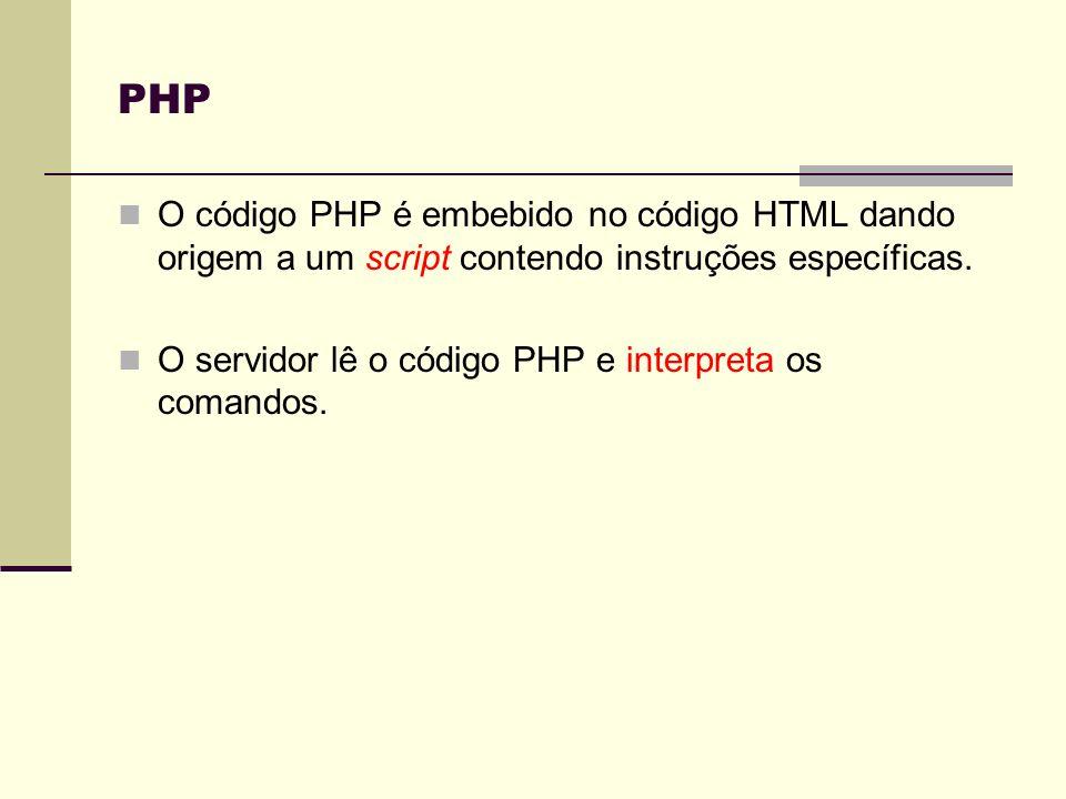 PHPO código PHP é embebido no código HTML dando origem a um script contendo instruções específicas.