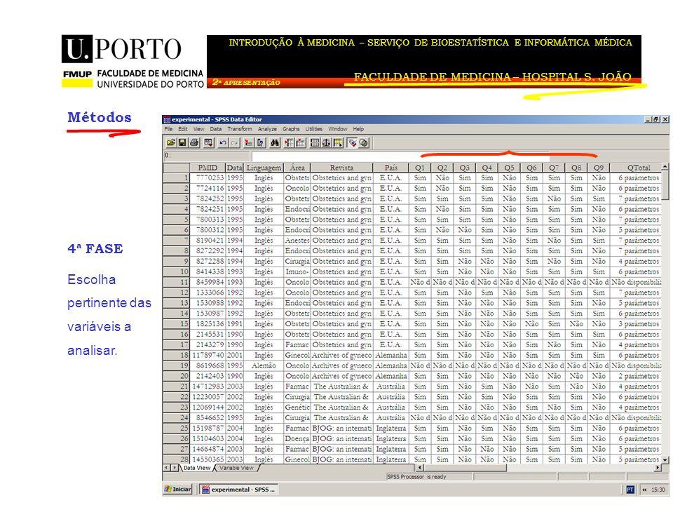 Métodos 4ª FASE Escolha pertinente das variáveis a analisar.
