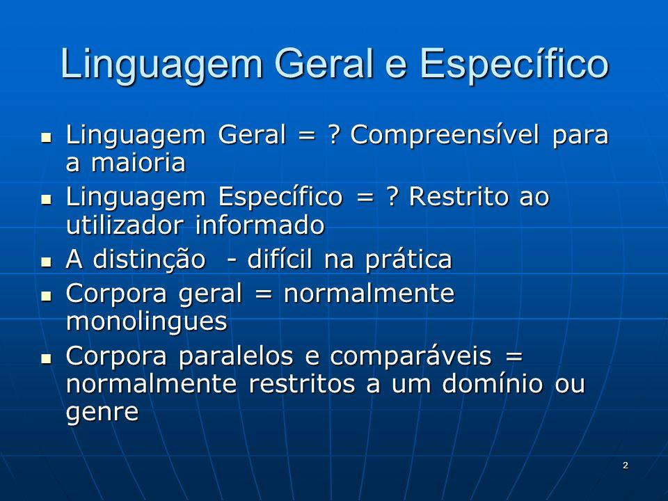 Linguagem Geral e Específico