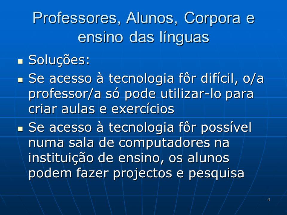 Professores, Alunos, Corpora e ensino das línguas