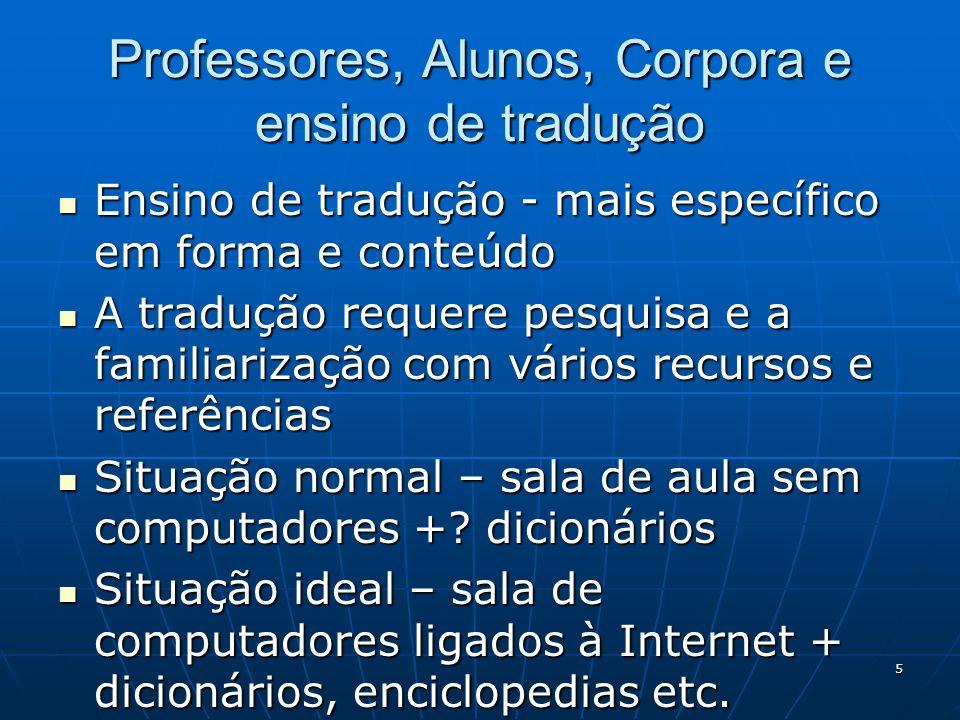 Professores, Alunos, Corpora e ensino de tradução
