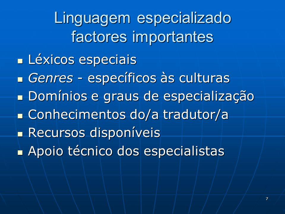 Linguagem especializado factores importantes