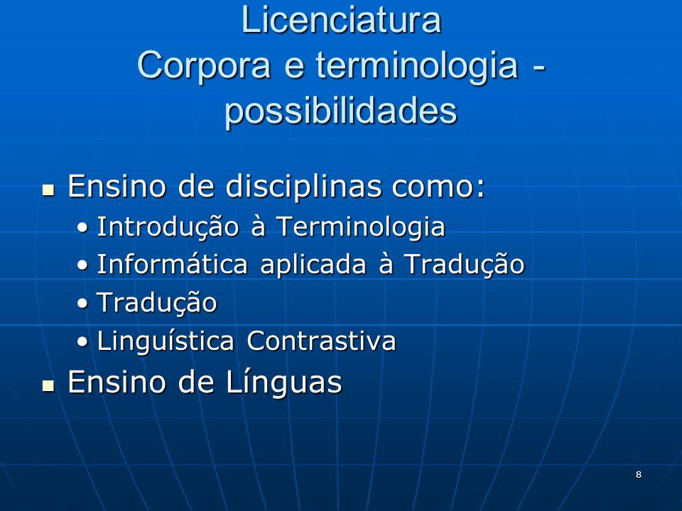 Licenciatura Corpora e terminologia - possibilidades