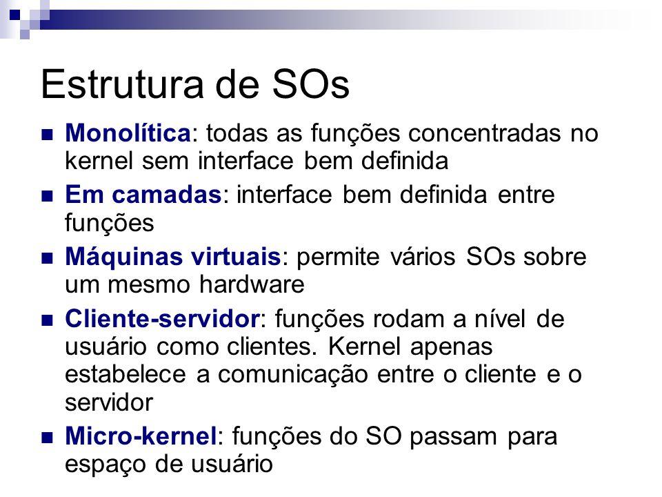 Estrutura de SOs Monolítica: todas as funções concentradas no kernel sem interface bem definida. Em camadas: interface bem definida entre funções.