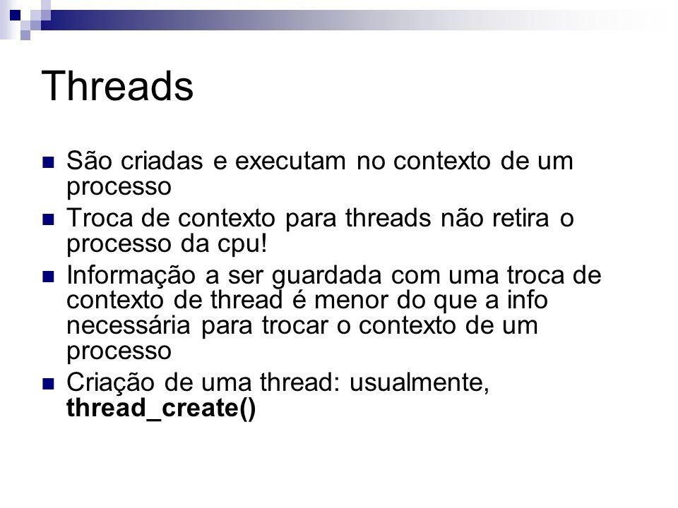 Threads São criadas e executam no contexto de um processo