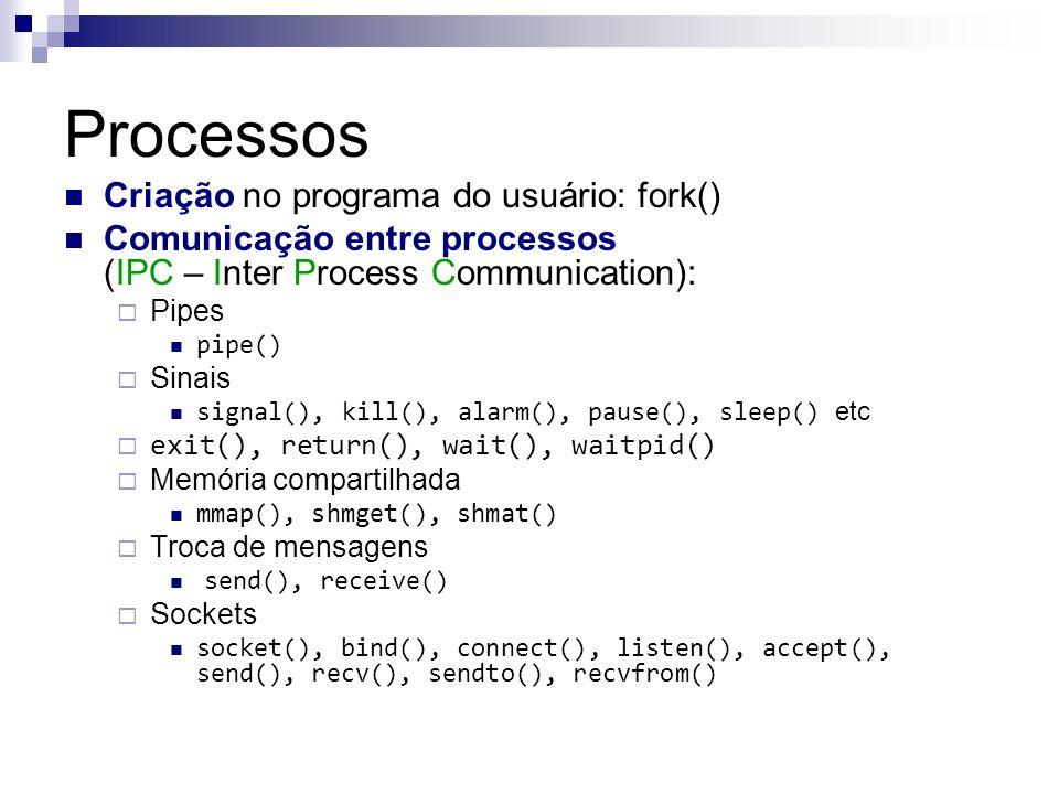 Processos Criação no programa do usuário: fork()