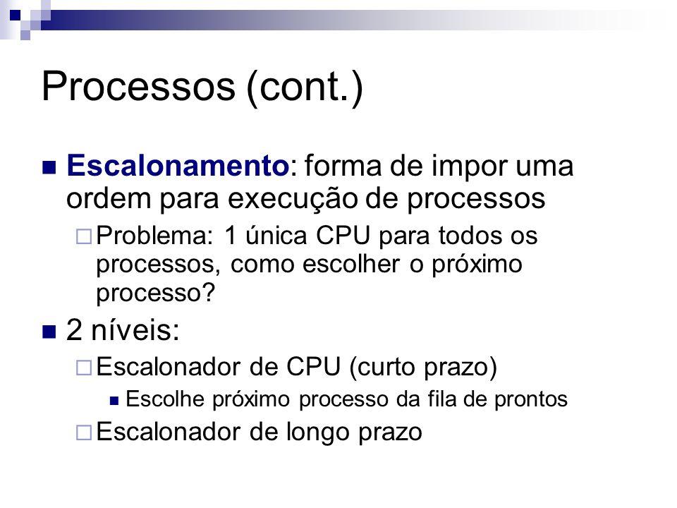 Processos (cont.) Escalonamento: forma de impor uma ordem para execução de processos.