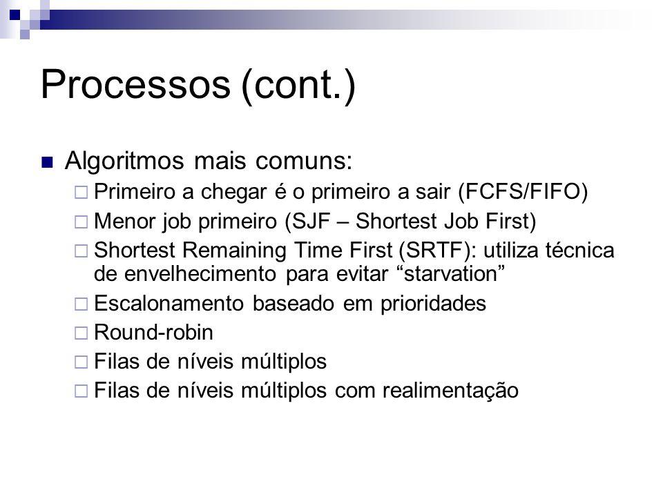 Processos (cont.) Algoritmos mais comuns: