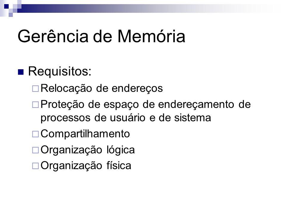 Gerência de Memória Requisitos: Relocação de endereços