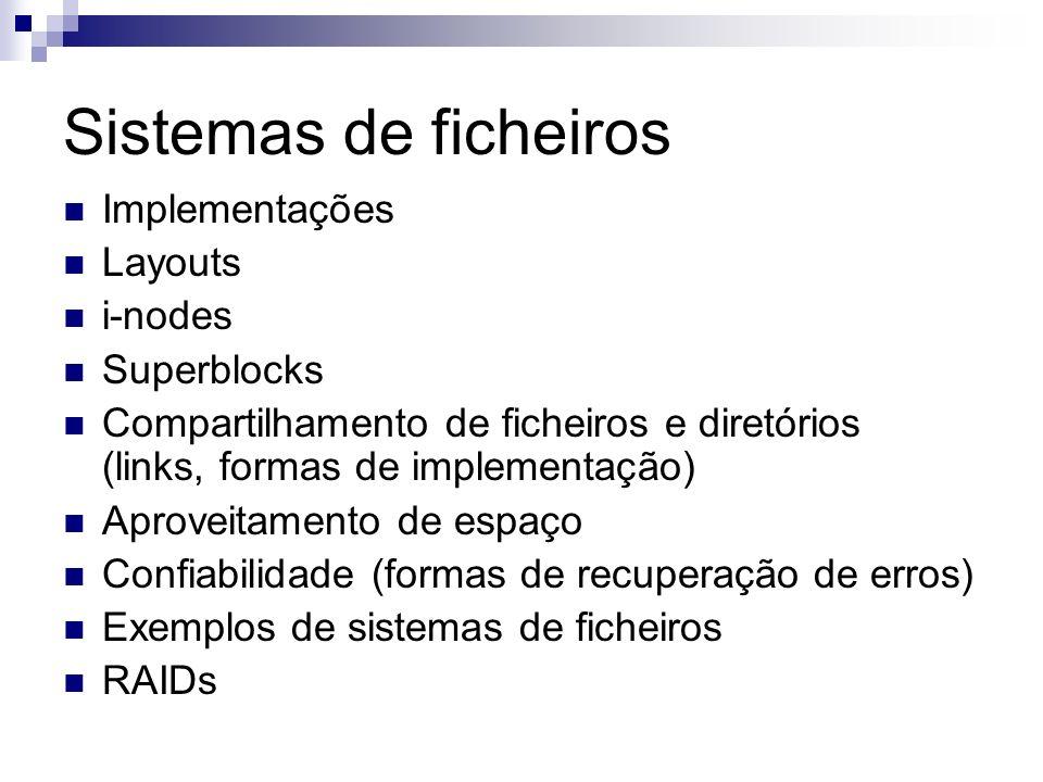 Sistemas de ficheiros Implementações Layouts i-nodes Superblocks