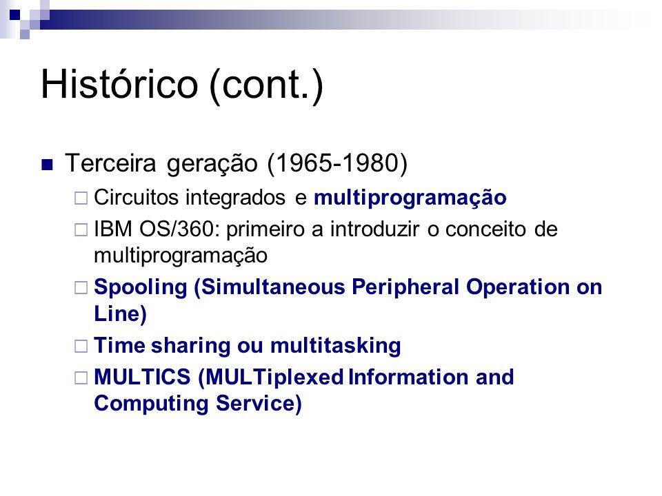 Histórico (cont.) Terceira geração (1965-1980)