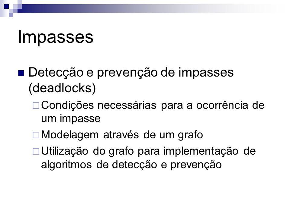 Impasses Detecção e prevenção de impasses (deadlocks)