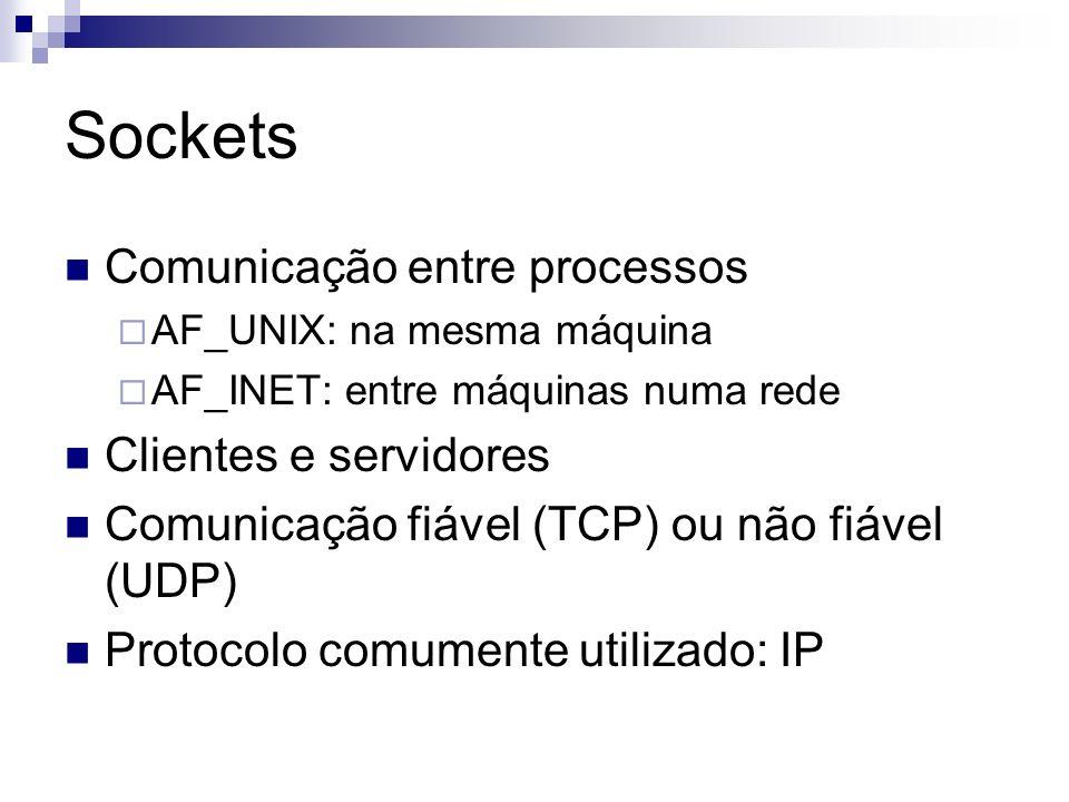 Sockets Comunicação entre processos Clientes e servidores