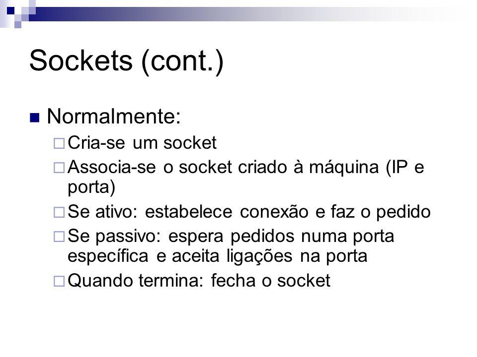 Sockets (cont.) Normalmente: Cria-se um socket