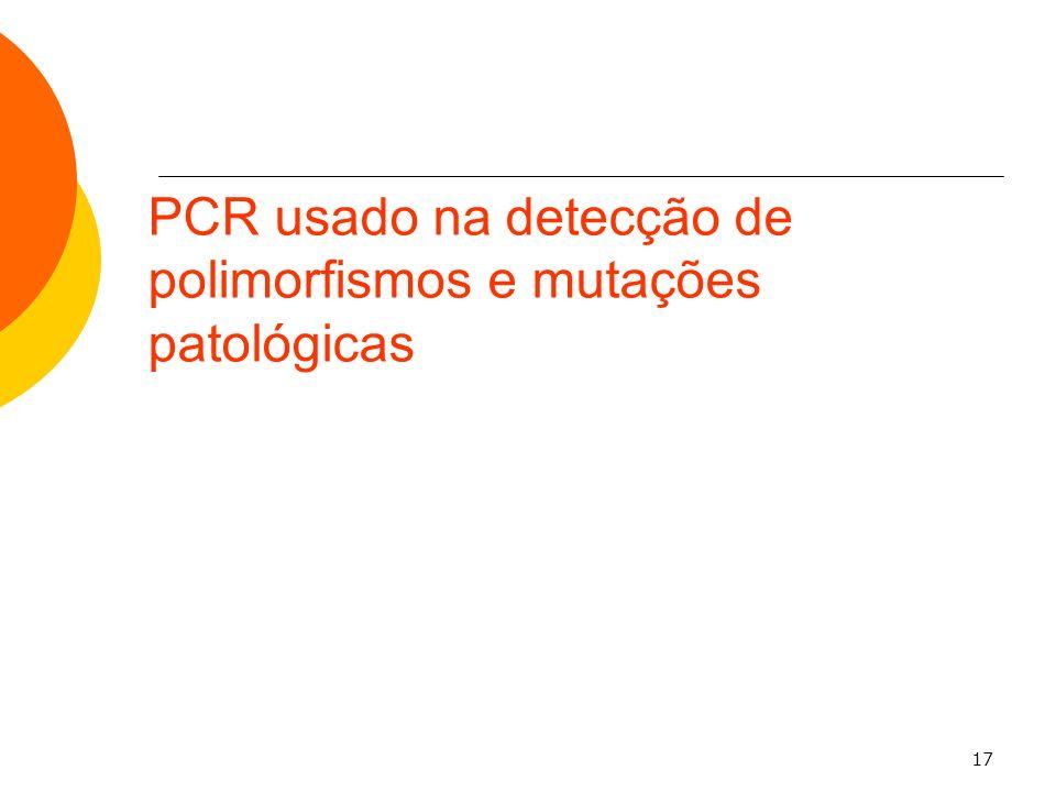 PCR usado na detecção de polimorfismos e mutações patológicas
