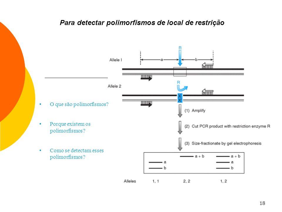 Para detectar polimorfismos de local de restrição
