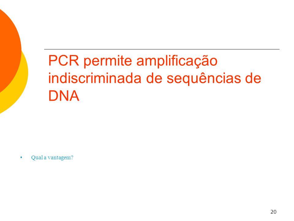 PCR permite amplificação indiscriminada de sequências de DNA