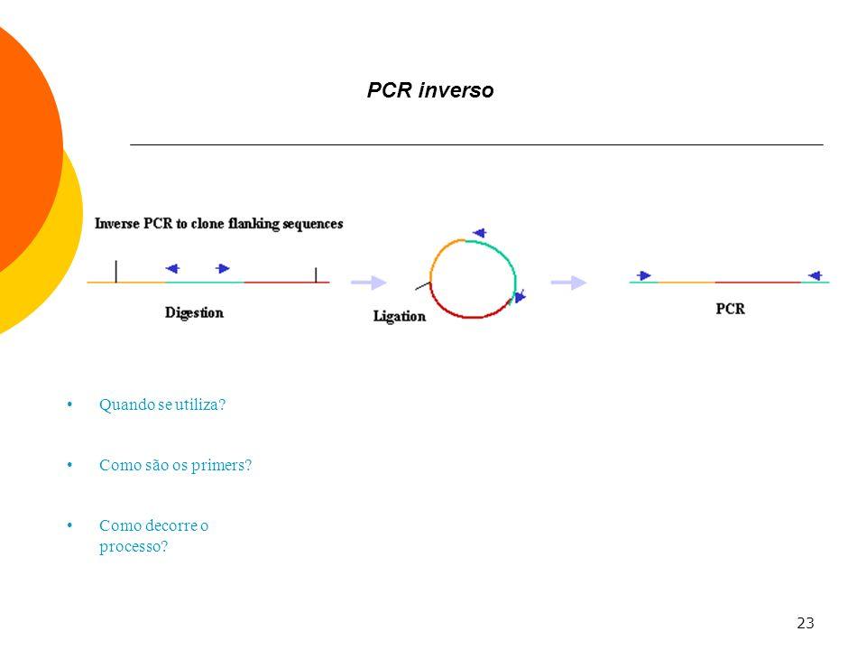 PCR inverso Quando se utiliza Como são os primers