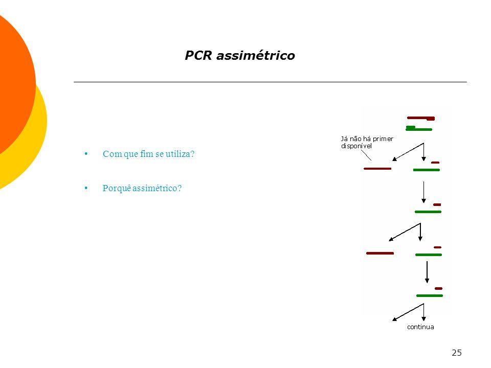 PCR assimétrico Com que fim se utiliza Porquê assimétrico