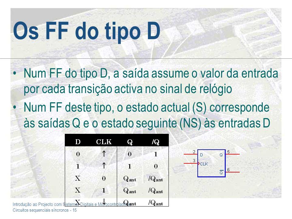 Os FF do tipo D Num FF do tipo D, a saída assume o valor da entrada por cada transição activa no sinal de relógio.