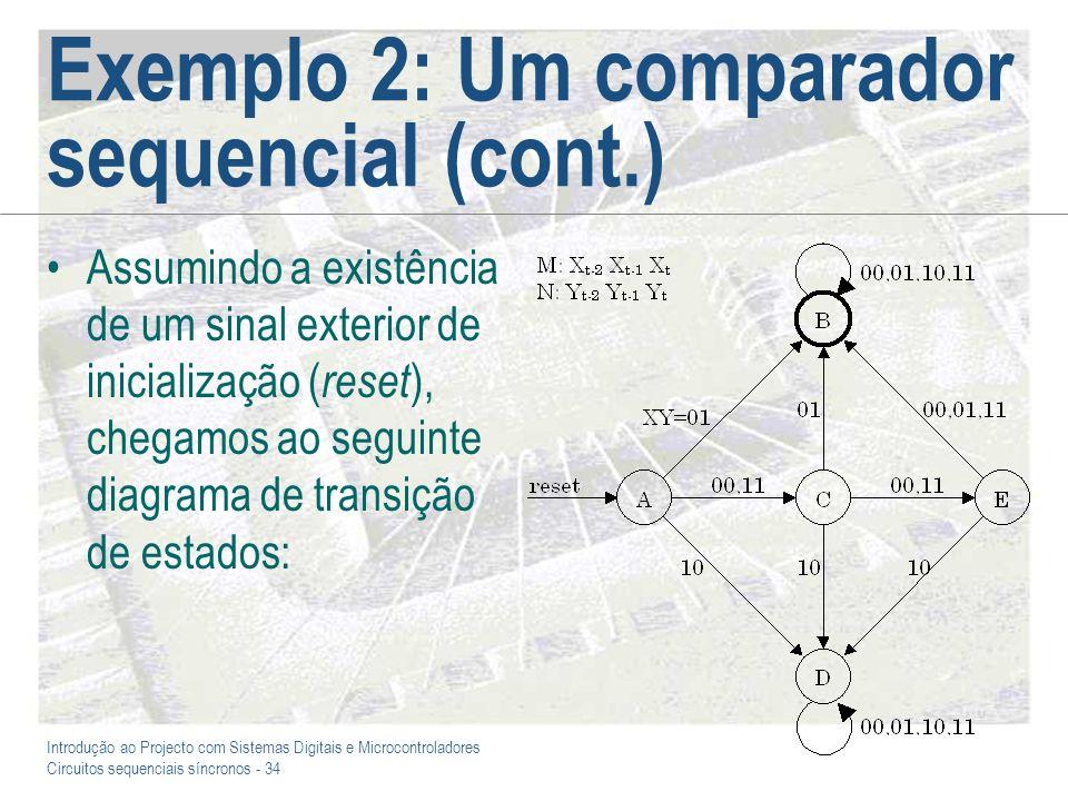 Exemplo 2: Um comparador sequencial (cont.)