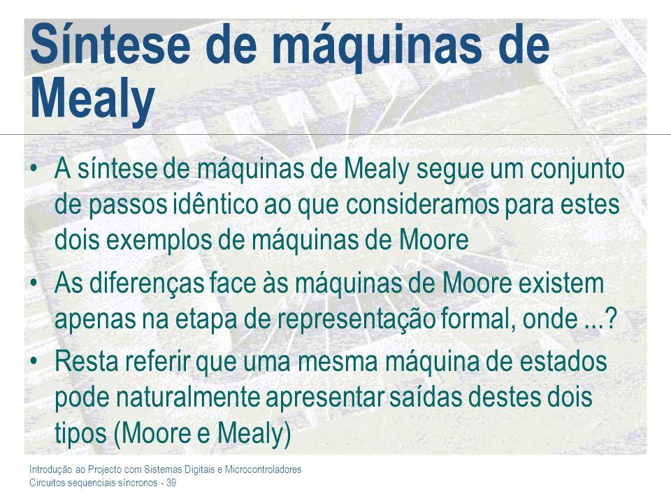 Síntese de máquinas de Mealy