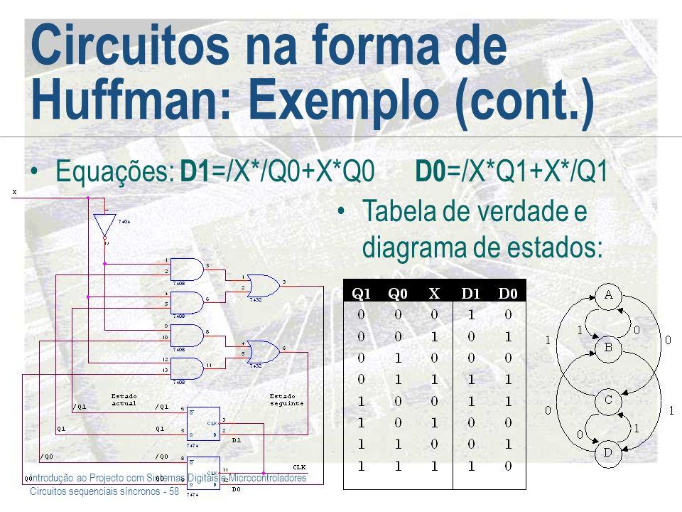 Circuitos na forma de Huffman: Exemplo (cont.)