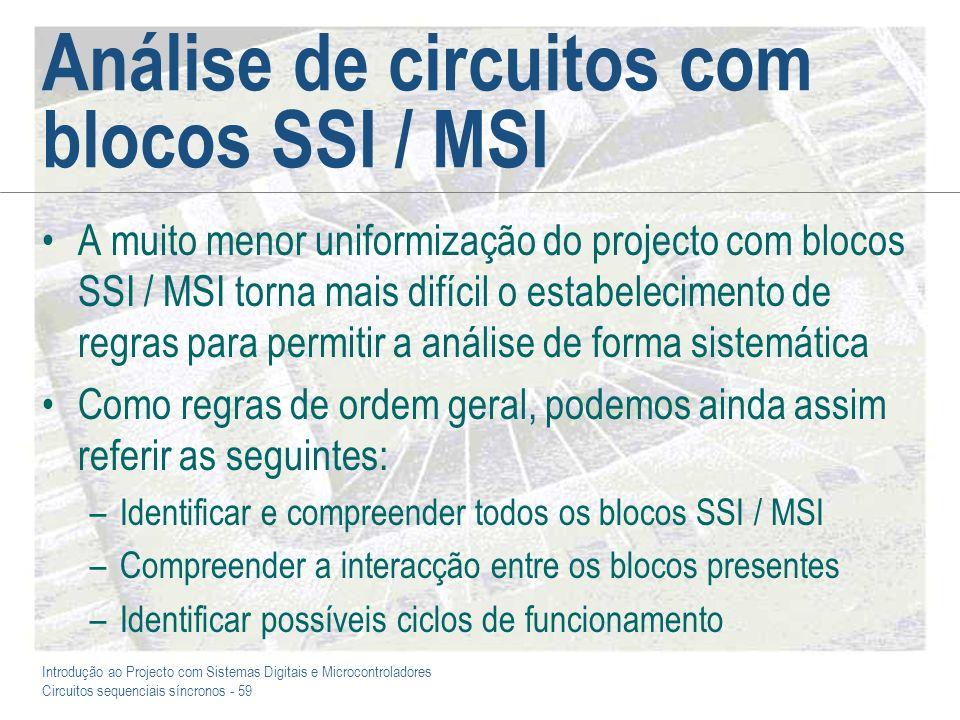Análise de circuitos com blocos SSI / MSI
