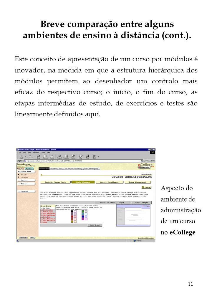 Breve comparação entre alguns ambientes de ensino à distância (cont.).