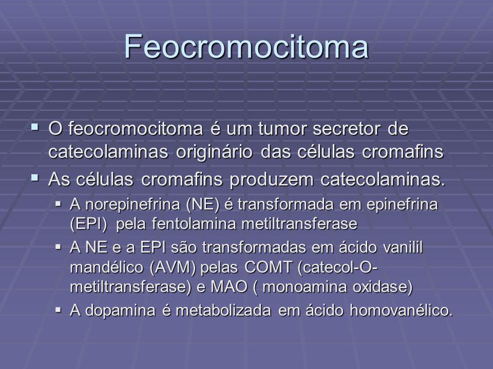 Feocromocitoma O feocromocitoma é um tumor secretor de catecolaminas originário das células cromafins.