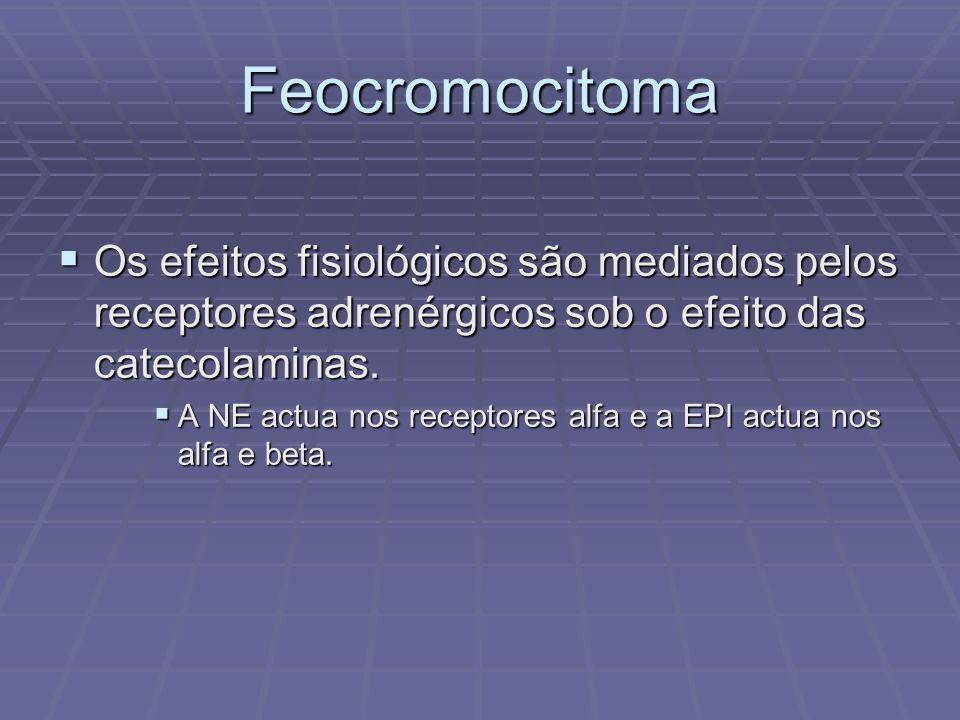 Feocromocitoma Os efeitos fisiológicos são mediados pelos receptores adrenérgicos sob o efeito das catecolaminas.