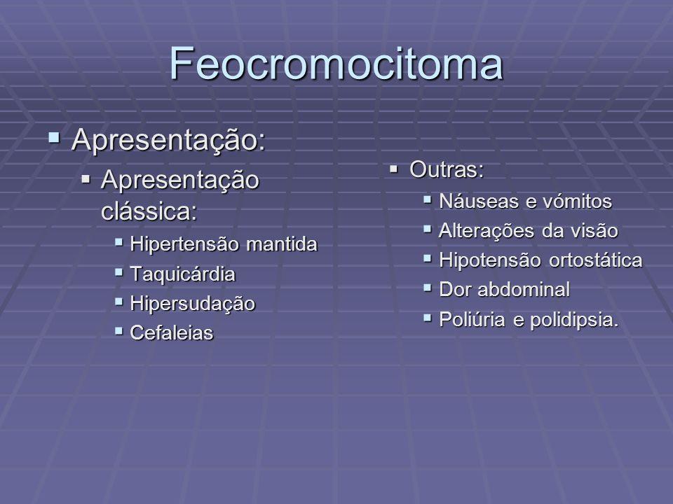 Feocromocitoma Apresentação: Apresentação clássica: Outras: