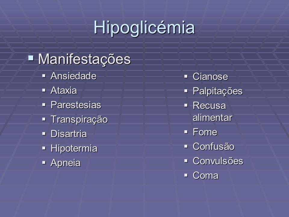 Hipoglicémia Manifestações Ansiedade Cianose Ataxia Palpitações