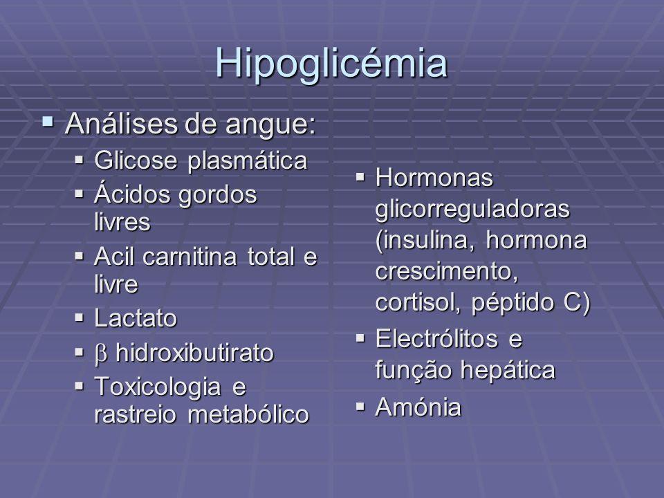 Hipoglicémia Análises de angue: Glicose plasmática