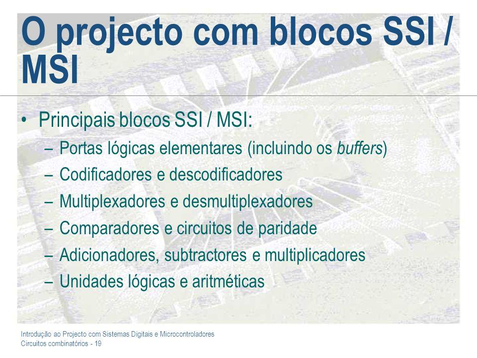O projecto com blocos SSI / MSI