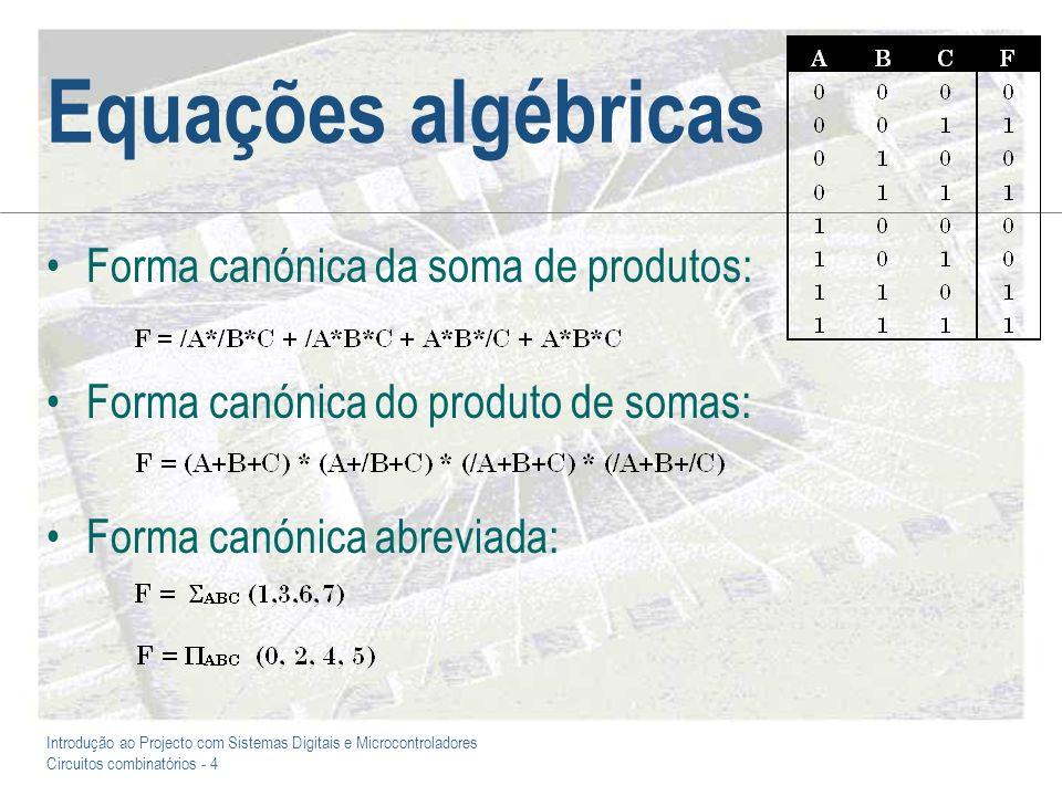 Equações algébricas Forma canónica da soma de produtos: