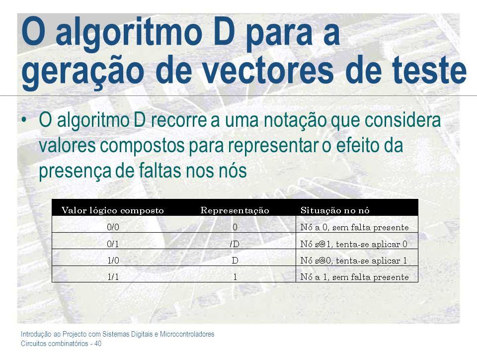 O algoritmo D para a geração de vectores de teste