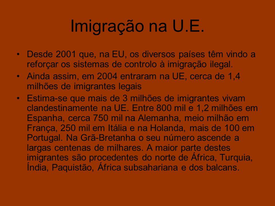 Imigração na U.E. Desde 2001 que, na EU, os diversos países têm vindo a reforçar os sistemas de controlo à imigração ilegal.