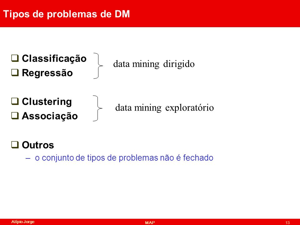 Tipos de problemas de DM