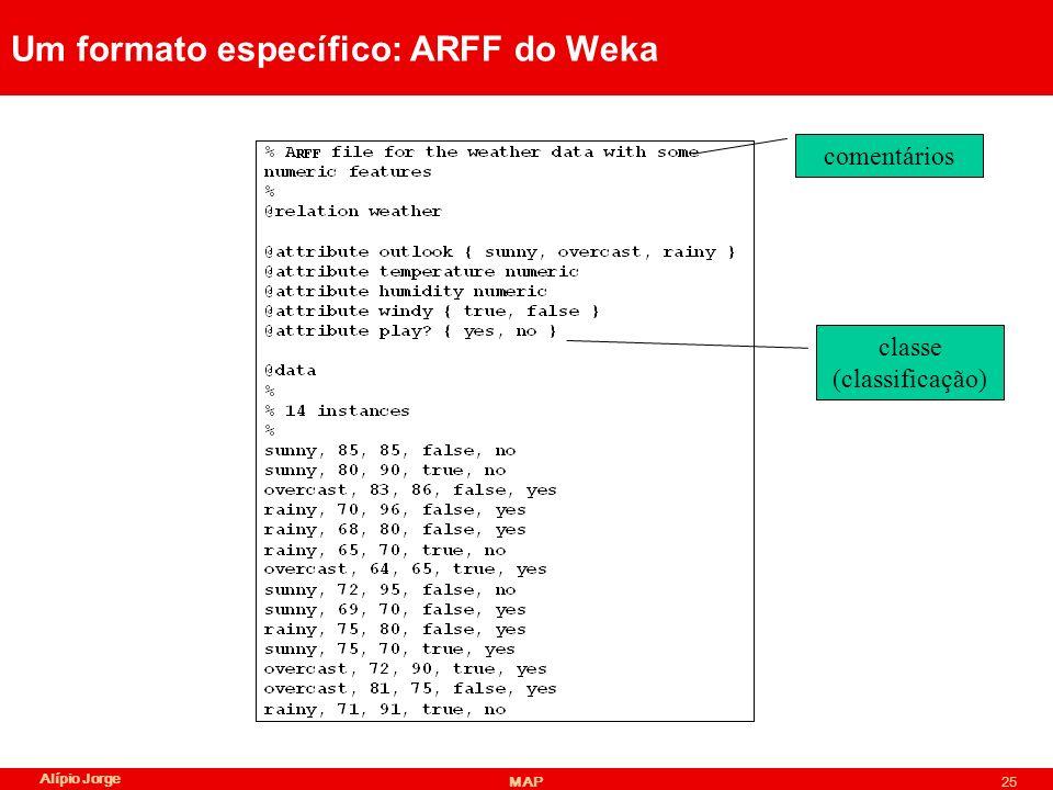 Um formato específico: ARFF do Weka