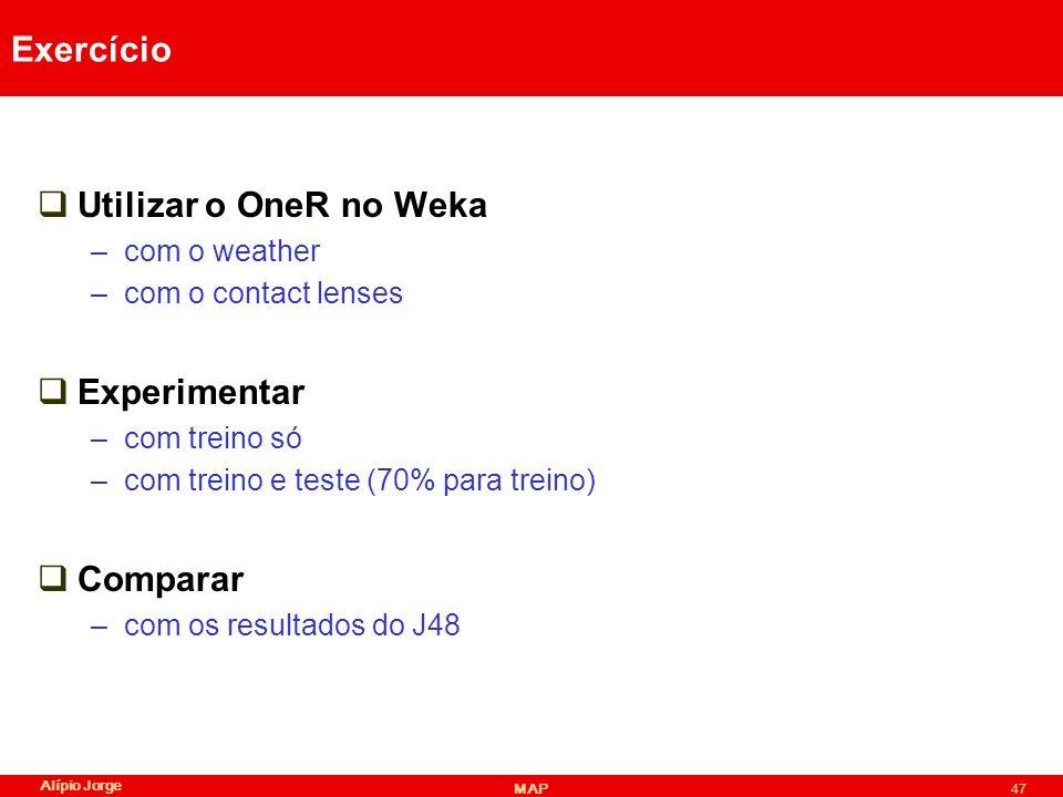 Exercício Utilizar o OneR no Weka Experimentar Comparar com o weather