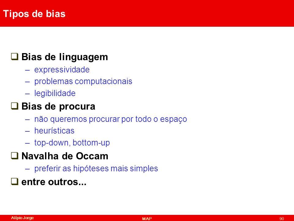 Tipos de bias Bias de linguagem Bias de procura Navalha de Occam