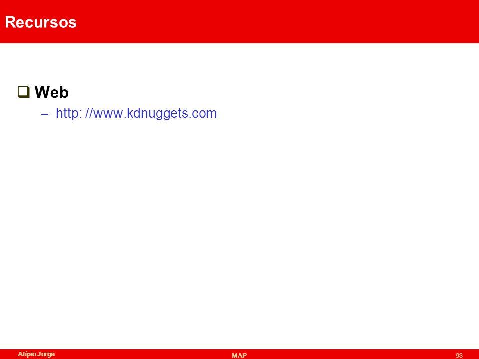 Recursos Web http: //www.kdnuggets.com Alípio Jorge MAP