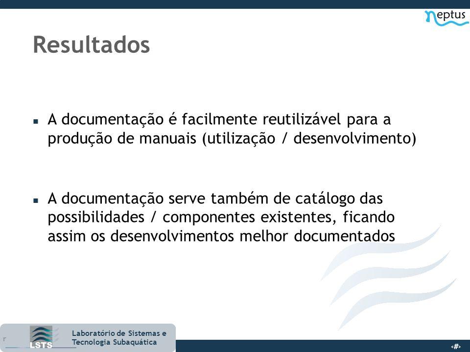 Resultados A documentação é facilmente reutilizável para a produção de manuais (utilização / desenvolvimento)